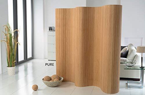 DE-COmmerce l Doppelseitiger Bambus Paravent (BxH) 120-180 cm x 185 cm l Raumteiler l Trennwand l Faltwand l Shoji l Sichtschutz Pure