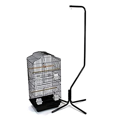 Easipet Large Metal Bird Cage with Stand Suitable For Multiple Birds (Black) 1