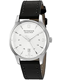 Stainless Steel Case Silver Dial Leather Strap Date Displays