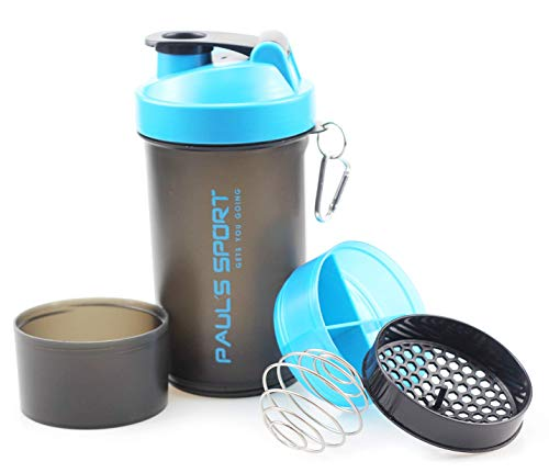 Paul´s Sport Protein Shaker mit zwei Pulverfächern, Gesamtkapazität 700 ml, skaliert bis 600 ml, Blenderball und Siebeinsatz für cremige Shakes, auslaufsicher und BPA frei -