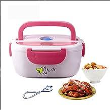 HJL comida térmico Lunch Box Fiambreras bento EU-enchufe eléctrica con Bandeja extraíble acero inoxidable,Recipiente de comida térmico 40W (rosa)