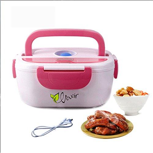 HJL Thermo Lunch Box Isolierbehälter Edelstahl Thermo Lunch Box mit Griff Foodbehälter Warmhaltebox für Nahrung, Abnehmbarer Wäsche EU-Stecker Edelstahl-Liner EU plugs (rosa) (Thermos Lunch Hot Box)