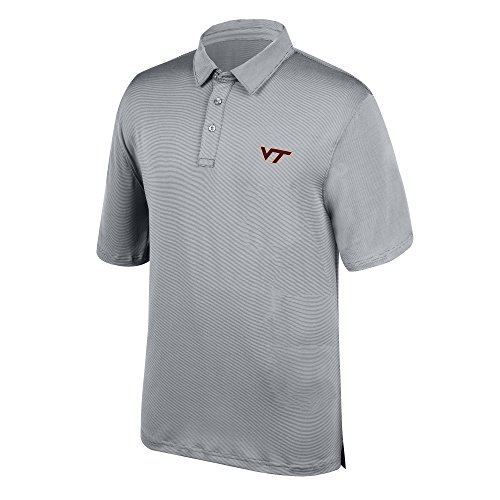 J America NCAA Men's Virginia Tech Hokies Yarn Dye Striped Team Polo Shirt, X-Large, Cement -