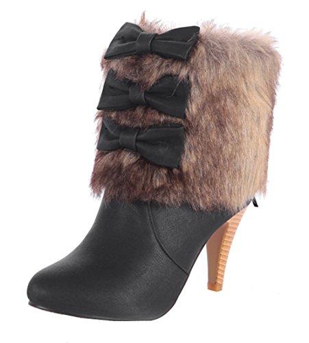 YE Damen High Heel Spitze Ankle Boots mit Schleife und Kunstpelz 8cm Absatz Süß Moderne Stiefeletten Schwarz