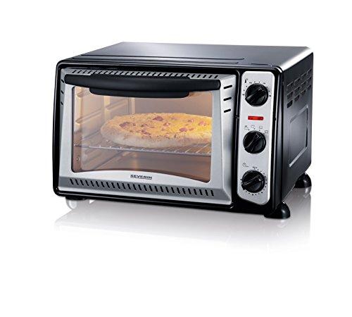 SEVERIN Mini-four gril (1 500 W, Grille et plaque de cuisson incluses, 20 L), Argent/noir, TO 2034 (Reconditionné)