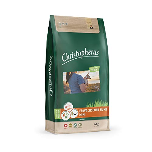 Christopherus Adult mini, Vollnahrung für ausgewachsene Hunde mit normaler bis gesteigerter Aktivität, Trockenfutter, Geflügel, Lamm, Ei, Reis, Reduzierte Krokettengröße, Erwachsener Hund, 4 kg