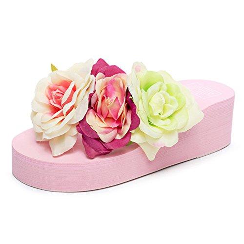 Eagsouni® Femmes Plateforme Flip Flop Talon Compensé Tongs Sandales Eté Plage Mules et sabots Fille Chaussures Rose
