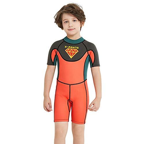 Qzvof Kinder-Neoprenanzug, Kinder-Reißverschluss-Neoprenanzug, UV-Tauchanzug für Sonnenschutz, Schnorcheln, Tauchen, Schwimmen,Orange,AsiaL=USM