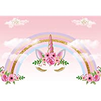 ZZbaixinglongan Useful Rainbow Unicorn Backdrop Unicorn Birthday Photo Backdrop 5x3ft Rainbow Floral Photography Background for Birthday Party Banner Studio Props(None 11304365)