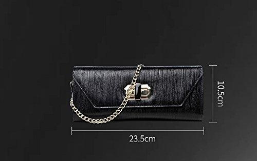 Borsa, borsa delle signore, borse di cuoio coreane di modo, piccoli sacchetti, pacchetto di pranzo del banchetto delle signore ( Colore : Nero ) Champagne d'oro