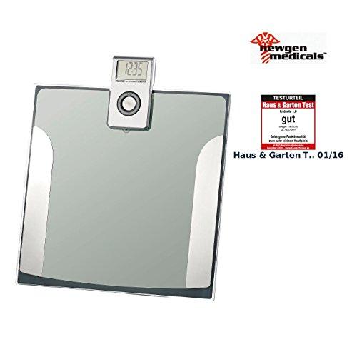 newgen medicals Körperfettanalysewaage: Ultraflache 3in1-Diagnosewaage mit abnehmbarem Display, bis 150 kg (Digital Personenwaage)