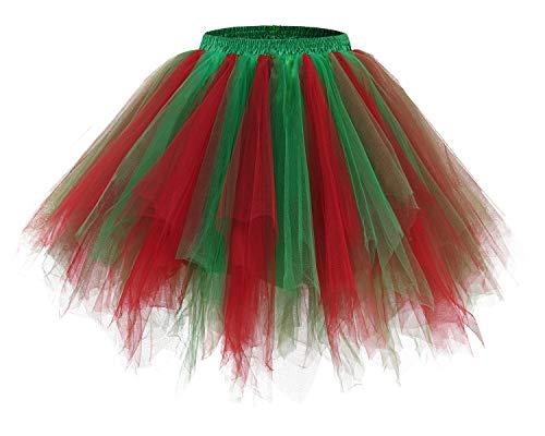 bridesmay Tutu Damenrock Tüllrock 50er Kurz Ballet Tanzkleid Unterkleid Cosplay Crinoline Petticoat für Rockabilly Kleid Red Green L