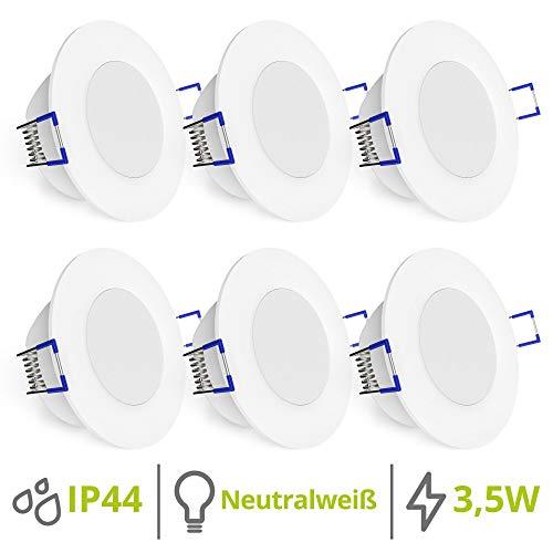 linovum WEEVO 6er Set IP44 Einbaustrahler LED 230V für Bad & Außen - runde Deckenspots neutralweiß 3,5W flacher Einbau 29 mm