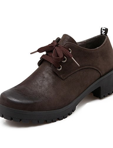 ZQ hug Scarpe Donna - Stringate - Casual - Plateau - Quadrato - Finta pelle - Nero / Marrone , brown-us8 / eu39 / uk6 / cn39 , brown-us8 / eu39 / uk6 / cn39 black-us7.5 / eu38 / uk5.5 / cn38