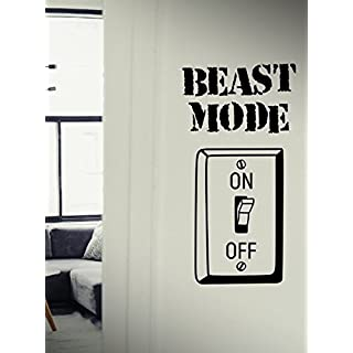 Beast Mode On - Quote Motivational Workout Fitness Exercise Gym Decal wall decals, vinyl decals stickers DIY Art Decor Bedroom