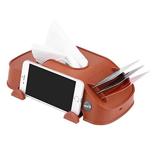 Elerose Boîte multifonctionnelle de tissu de voiture de boîte de tissu de voiture avec le cas de stockage de porte-cartes de téléphone de carte de papier(Brown)