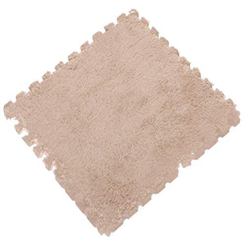 Rejoicing Stitching Teppich Fußmatte - Eva Schaum Kinderzimmer Krabbelkissen Tatami Puzzle Plüsch-Oberfläche für Zuhause Schlafzimmer Wohnzimmer Khaki - Eva-plüsch