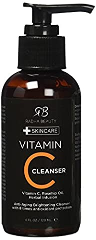 Vitamin C Facial Cleanser 4 oz - Best face wash for Anti Aging & Skin Brightening with Vitamin C, Herbal Infusion, Rosehip Oil - with 8 times antioxidant protection! by