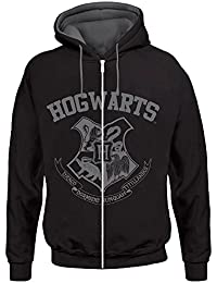 Harry Potter Unisex Zipper Hoodie Hogwarts, Schwarz/Grau