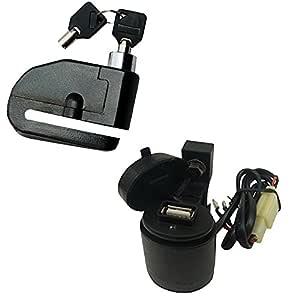 Vheelocityin Combo of Loud Alarm Security Bike Disk Lock with Motorcycle USB Mobile Charger