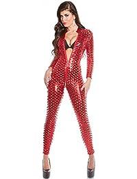 dd0b68421df7 KouCla Wet Look Catsuit with Two-Way Zip Onesie Jumpsuit All in One Piece in