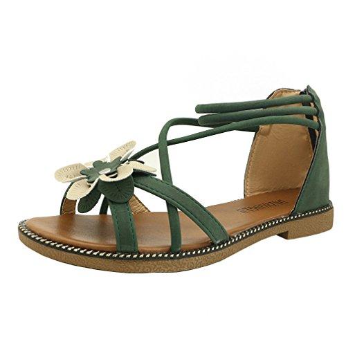 Longra donna sandali tacco basso anti slittamento estivi elegante sandali ciabatte pu bassi infradito,ragazze casuale sandali bohemian aperte scarpe fiori peep toe shoes (40, verde)