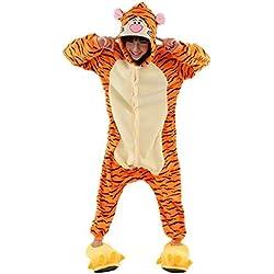 Padgene Pijamas Unisexo Adulto Cosplay Traje Disfraz Adulto Animal Pijamas Ropa de Dormir Halloween y Navidad - L- Tigre