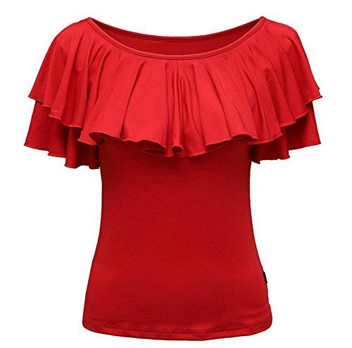 Wgwioo Erwachsenen Square Dance Latin Dance Kleid Mit Kurzen Ärmeln T-Shirt , Big Red , Xl
