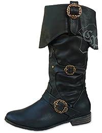 Damen Flach Klappmanschette Knie Wade Pirat Seeräuber Slouch-Stiefel Größe 7 40 tn18e
