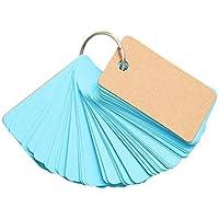 Tarjetas de papel de estraza con anilla para carpeta, 90 unidades, color en blanco