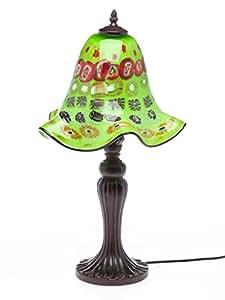 Lampe de bureau avec abat-jour - style verre de Murano/style ancien - vert - 61 cm