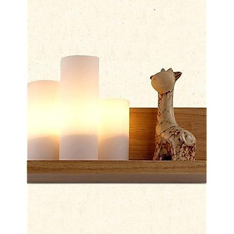 El Candelabro de Pared Latón industrial moderna lámpara de pared de luz Retro Vintage rustico de pared de Luz Lámpara de Pared de roble, tres luces, roble y cristal,