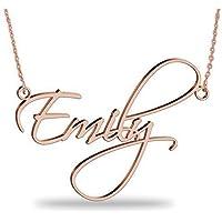 Collana con nome personalizzato in argento 925 placcato oro Rosa 18K