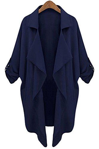 YiLianDa-Donna-34-Corto-Manica-Aperto-Davanti-Colletto-Cappotto-Casual-Giacca-Blazer-Blu-L