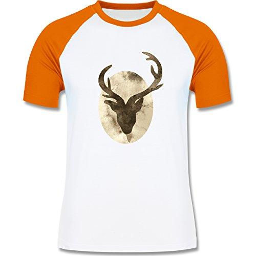 Wildnis - Hirsch - Aquarellsilhouette - zweifarbiges Baseballshirt für Männer Weiß/Orange