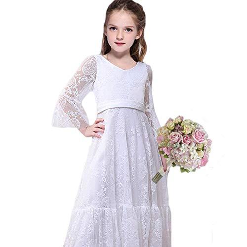 CQDY Mädchen Prinzessin Kleid Spitzen Blumenmädchen Kleid Festkleid 100-155CM (6-7 Jahre(120cm), Weiß)