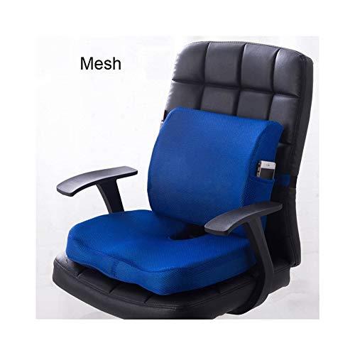 2 In1 Memory Foam Sitzkissen Rückenkissen Taille Unterstützung Set Für Home Office Schwangerschaft Mesh Wildleder Gesundheitswesen Kissen Stuhl Pad (Color : Mesh Blue) -
