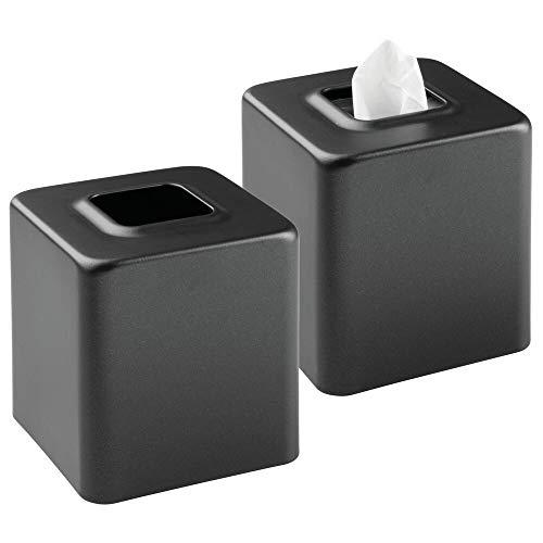 mDesign Juego de 2 cajas para pañuelos de papel - Caja para toallitas para baño, dormitorio o cocina - Dispensador de pañuelos de metal - Preciosas cubiertas para cajas de pañuelos normales - negro