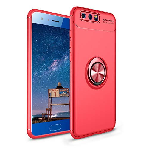 CESTOR Handyhülle für Huawei Honor 9 [mit 360°Grad Drehbarer Ringhalter Fingerhalter],Luxus Ultra Dünn Weich Flexibel TPU Silikon HandyHülle für Huawei Honor 9,Rot