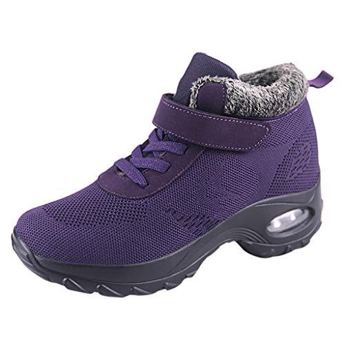 DAIFINEY Damen Sneaker Warm Gefüttert Sportlicher Schnürer Leichte Modische Turnschuhe Fliegendes Weben Socken Sportschuhe Schüler Freizeit Atmungsaktiv Laufschuhe Outdoor(Violett/Purple,37)