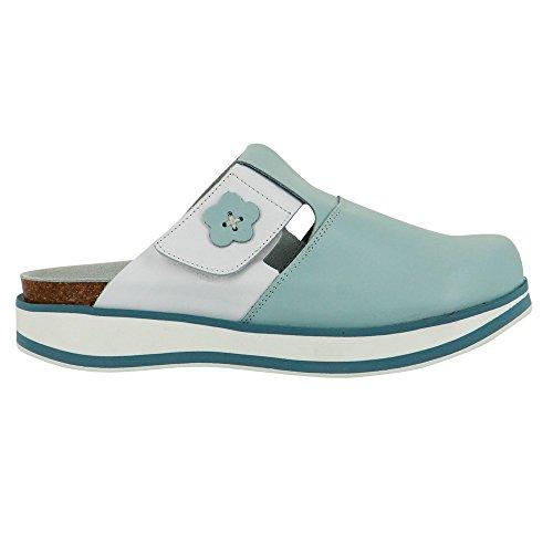 Chaussure infirmière intégralement en Cuir Blanc et Ciel Première en liège semelle micro Blanc avec gomme antidérapante Blanc et ciel
