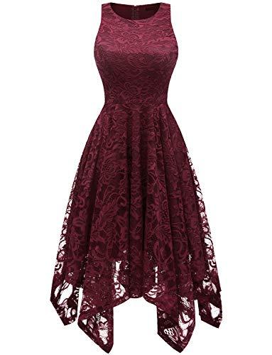 bridesmay Damen Elegant Spitzenkleid Knielang unregelmäßig Zipfel Kleid Abendkleider Cocktailkleid Burgundy S