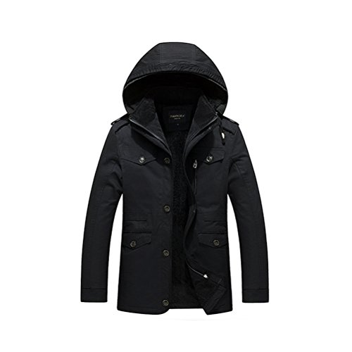 Zhhlaixing Classique Winter Men's Warm Jackets Outerwear Detachable Hooded Faux Fur Lined Black
