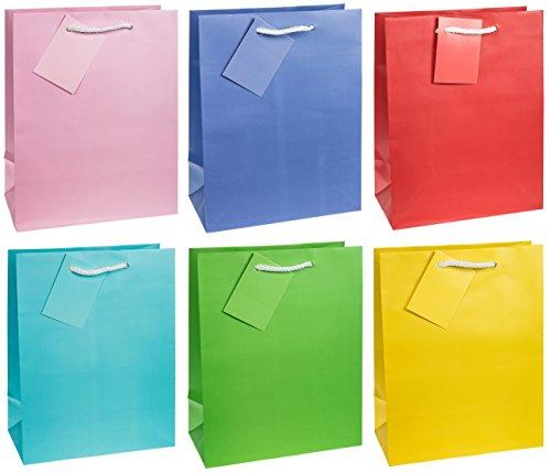 TSI 86011- Bolsa de regalo, paquete de 12 unidades, tamaño: medio, 23x 18x 10cm, colores lisos