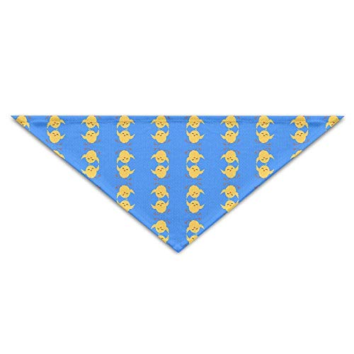 Kotdeqay Pet Triangle Bandana Blue Easter Wallpaper with Chicken Washable Dog Puppy Scarf Bib Babys Neckerchief Accessories - Blue Classic Wallpaper