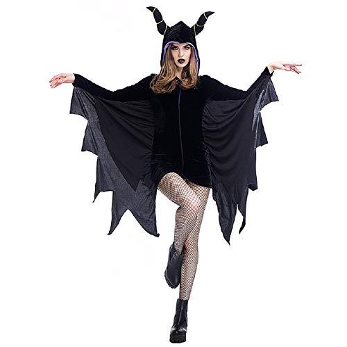 ZJWZ Frauen Halloween Fledermäuse Schlafen Devils Horns Dress Up Party Devil Kostüme,Black,M (Halloween Anime Girl Dress Up)