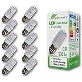 10x greenandco® LED Lampe ersetzt 40 Watt E27 Birne, 4W 330 Lumen 3000K warmweiß 48 x 3014 SMD LED 270° 230V AC mit Schutzglas, nicht dimmbar, 2 Jahre Garantie