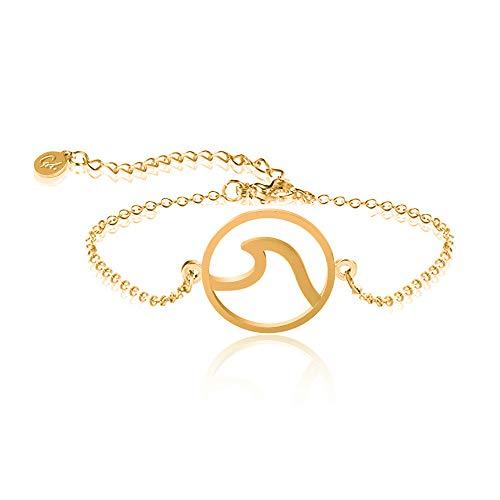 GD GOOD.designs EST. 2015 ® Wave Damen Armkette (verstellbar) Armkettchen mit rundem Wellen- Symbol (Golden) - Armband Bademode