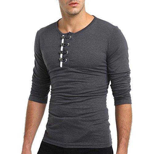 Tops Herren,TWBB Persönlichkeit Freizeit Männer Einfarbig O-Ausschnitt Oberteile Shirt Lange Ärmel Hemd Bluse Schlank Sweatshirts (XXXXL, Dunkelgrau)