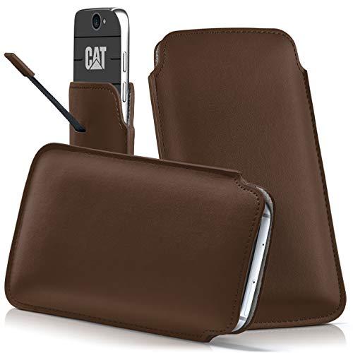 moex Cat B30 | Hülle Braun Sleeve Slide Cover Ultra-Slim Schutzhülle Dünn Handyhülle für Caterpillar Cat B30 Case Full Body Handytasche Kunst-Leder Tasche